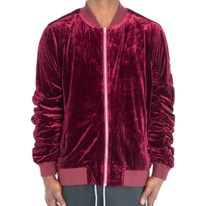 RUCHED SLEEVE VELOUR BOMBER JACKET - BURGUNDY - FXN menswear