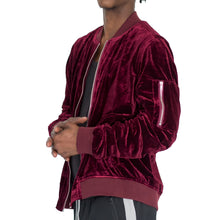Load image into Gallery viewer, RUCHED SLEEVE VELOUR BOMBER JACKET - BURGUNDY - FXN menswear
