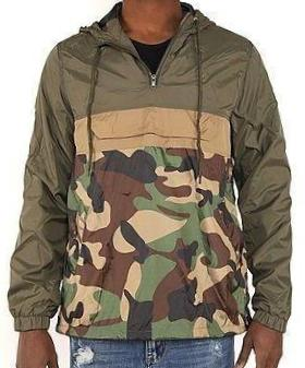 ANORAK WINDBREAKER - GREY/TAN/ARMY CAMO - FXN menswear