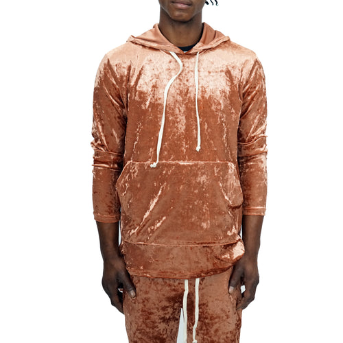 CRUSHED VELOUR SLIM JOGGER SET - COPPER - FXN menswear