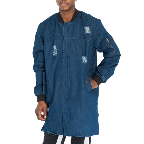 DISTRESSED TRENCH BOMBER COAT - DARK CHAMBRAY - FXN menswear