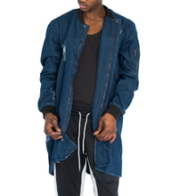 Load image into Gallery viewer, DISTRESSED TRENCH BOMBER COAT - DARK CHAMBRAY - FXN menswear