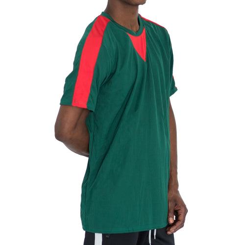 QUICK-DRY ATHLETIC TEE - GREEN/RED - FXN menswear