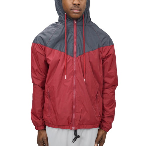 COLORBLOCK WINDBREAKER - GREY/BURGUNDY - FXN menswear