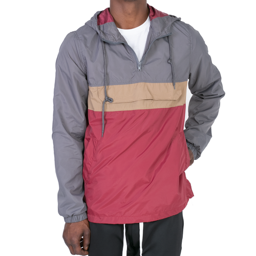ANORAK WINDBREAKER - GREY/TAN/MAROON - FXN menswear