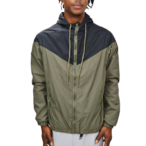 COLORBLOCK WINDBREAKER - BLACK/OLIVE - FXN menswear