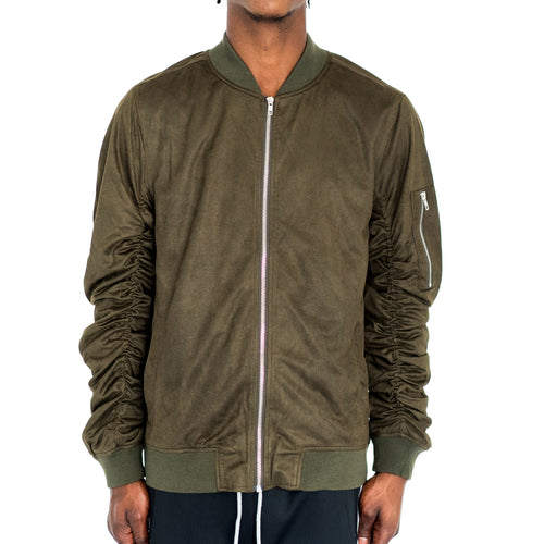 RUCHED SLEEVE SUEDED BOMBER JACKET - OLIVE GREEN - FXN menswear