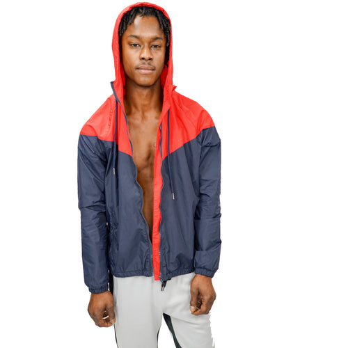 COLORBLOCK WINDBREAKER - RED/NAVY BLUE - FXN menswear