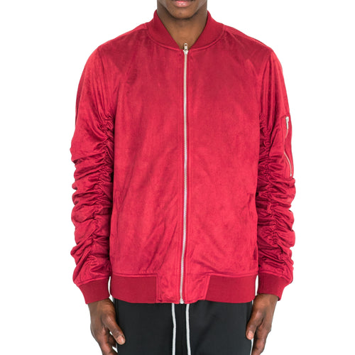 RUCHED SLEEVE SUEDED BOMBER JACKET - RED - FXN menswear