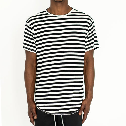 FINE KNIT STRIPED TEE - BLACK - FXN menswear