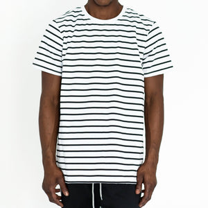 NARROW STRIPE BOX T - WHITE/BLACK - FXN menswear