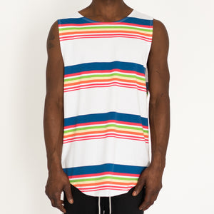 """SCHOOL STRIPES"" MUSCLE TANK - WHITE - FXN menswear"