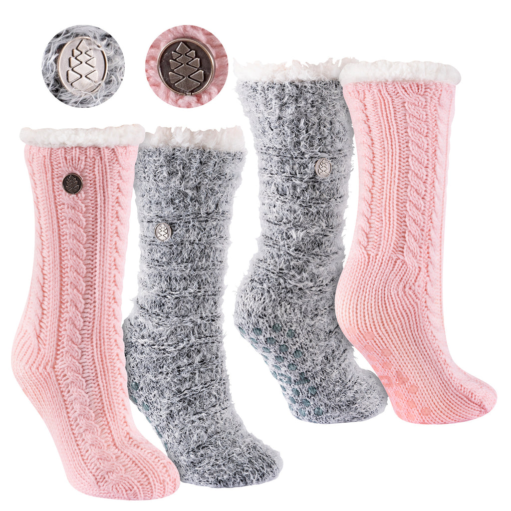 Miss Chalet and Snow Christie 2-Pack Sherpa Lined Cozy Socks in Pink and Black with Ivory