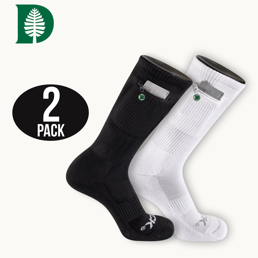 Dartmouth College Stash & Dash Zip Pocket Performance Crew Socks - 2 Pair Pack