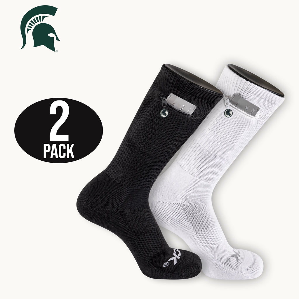 Michigan State Stash & Dash Zip Pocket Performance Crew Socks - 2 Pair Pack