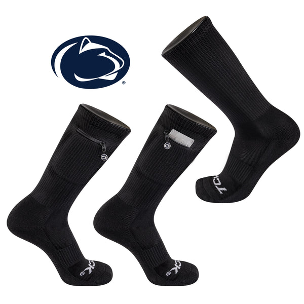 Penn State University Stash & Dash Zip Pocket Performance Crew Sock in Black