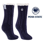 Penn State University Miss Chalet Cable Knit Cozy Slipper Sock
