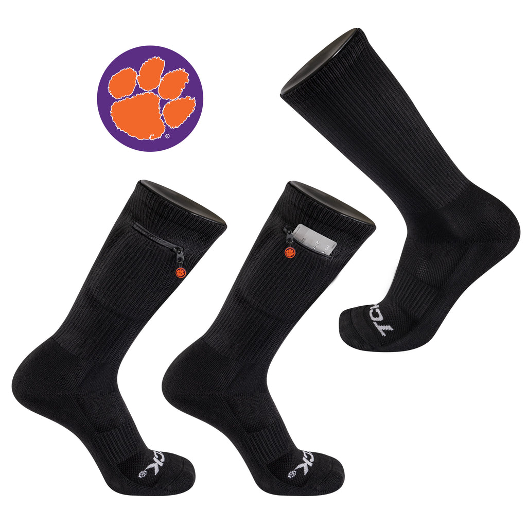 Clemson University Stash & Dash Zip Pocket Performance Crew Sock in Black