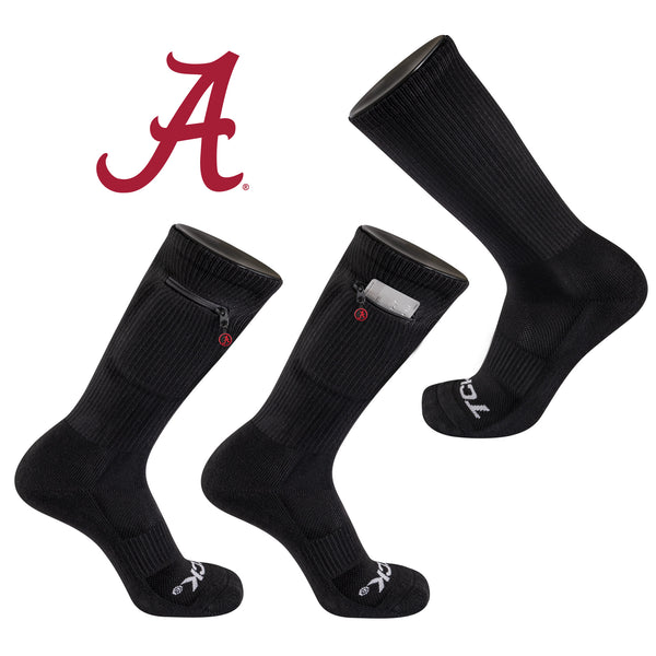 University of Alabama Stash & Dash Zip Pocket Performance Crew Sock in Black
