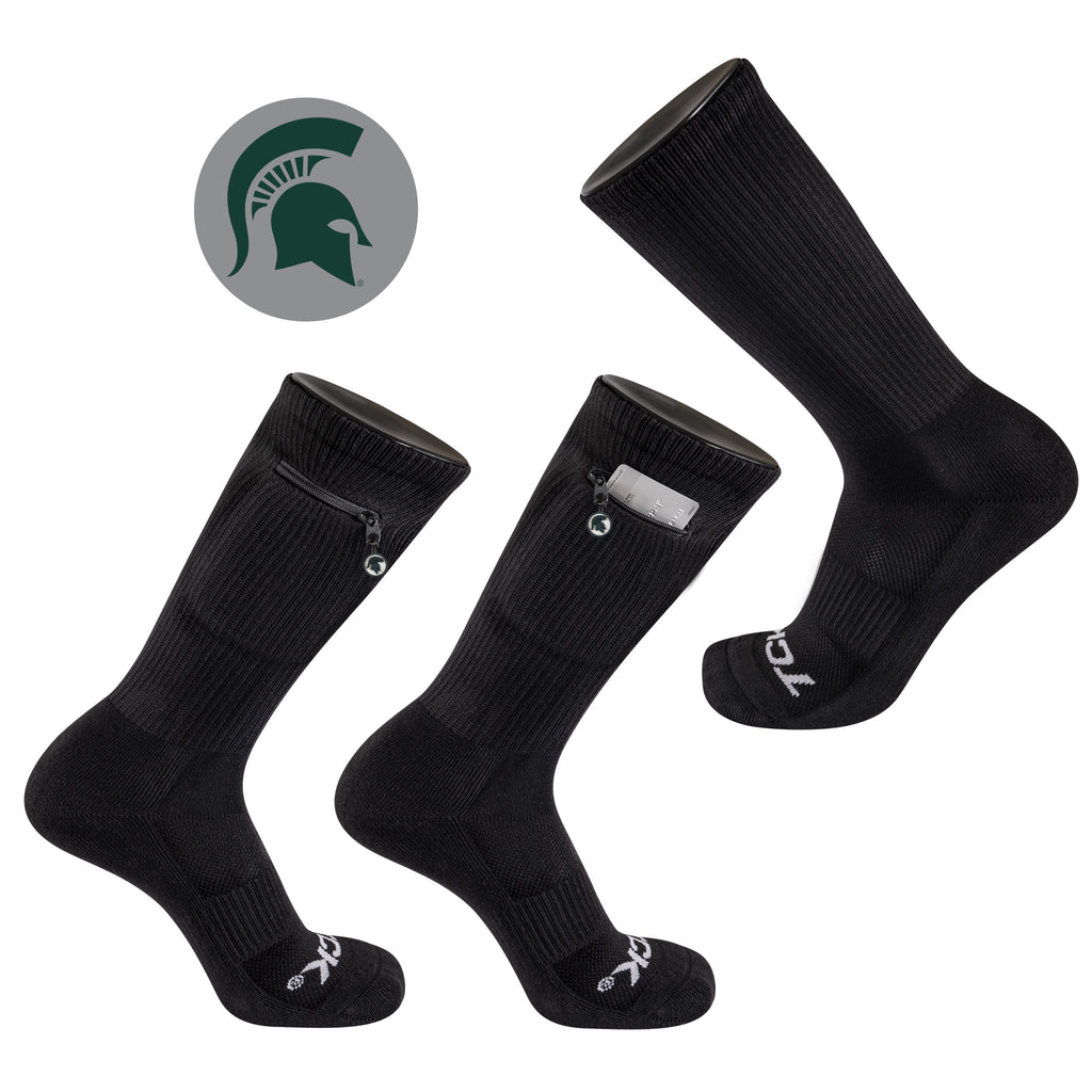 Michigan State University Stash & Dash Zip Pocket Performance Crew Sock in Black