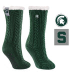 Michigan State University Miss Chalet Cable Knit Cozy Slipper Sock