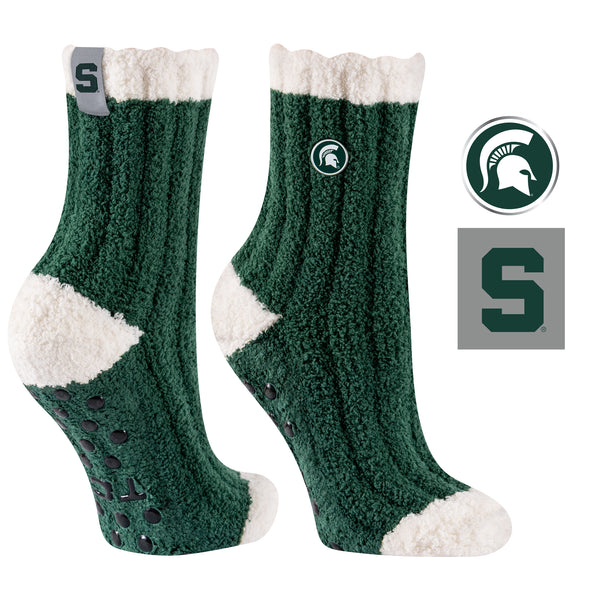 Michigan State University Warm Fuzzy Cozy Crew Socks