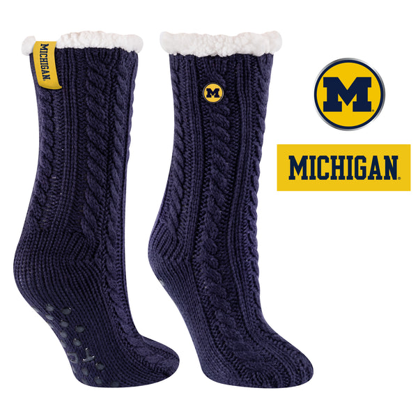 University of Michigan Miss Chalet Cable Knit Cozy Slipper Sock