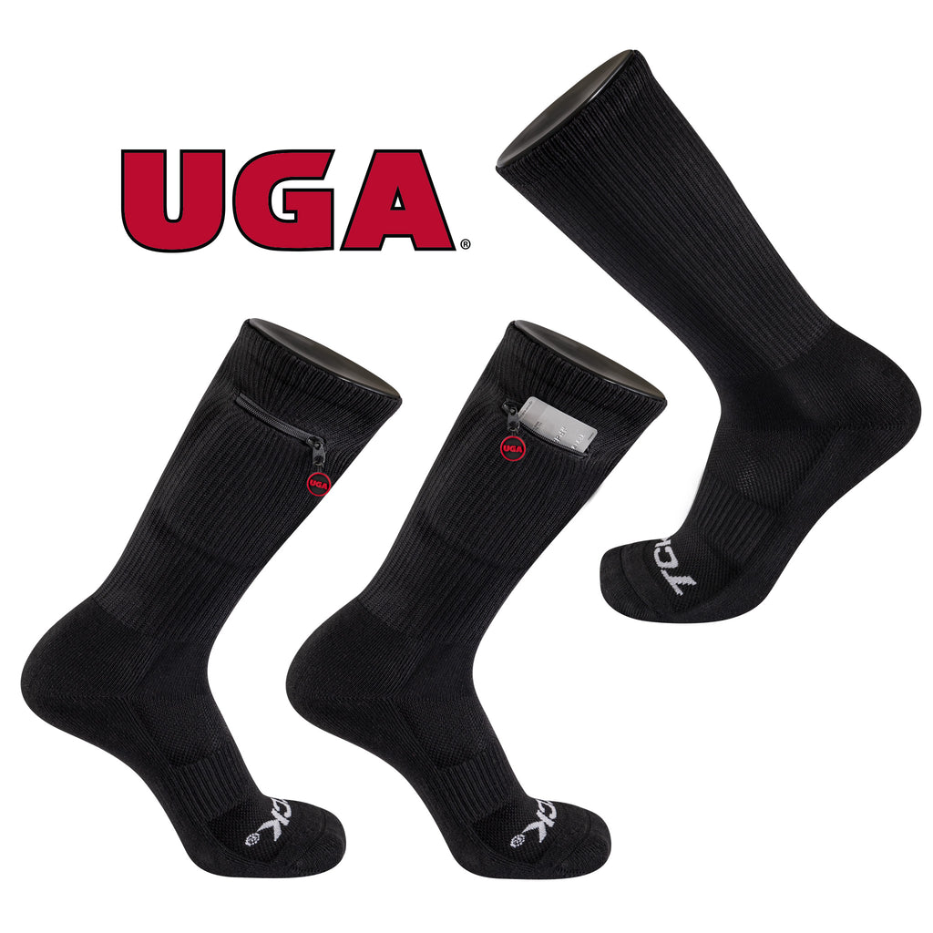 University of Georgia Stash & Dash Zip Pocket Performance Crew Sock in Black