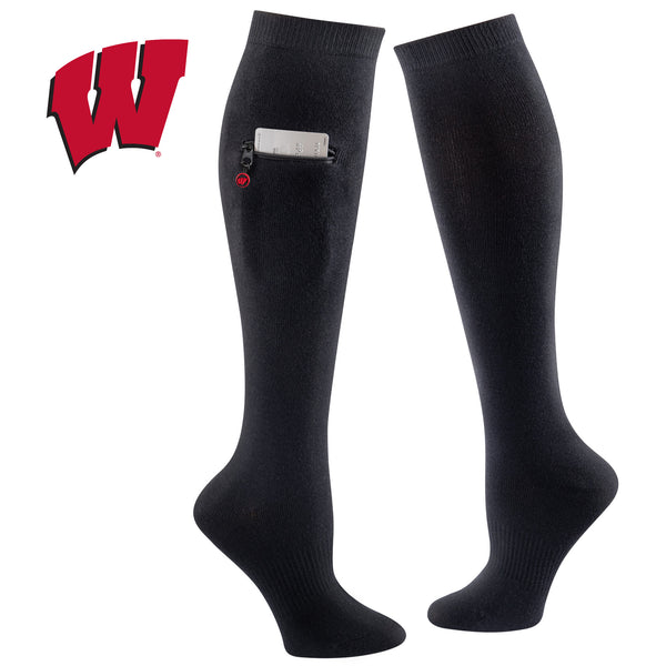 University of Wisconsin Miss Zippy Zip Pocket Knee High in Solid Black