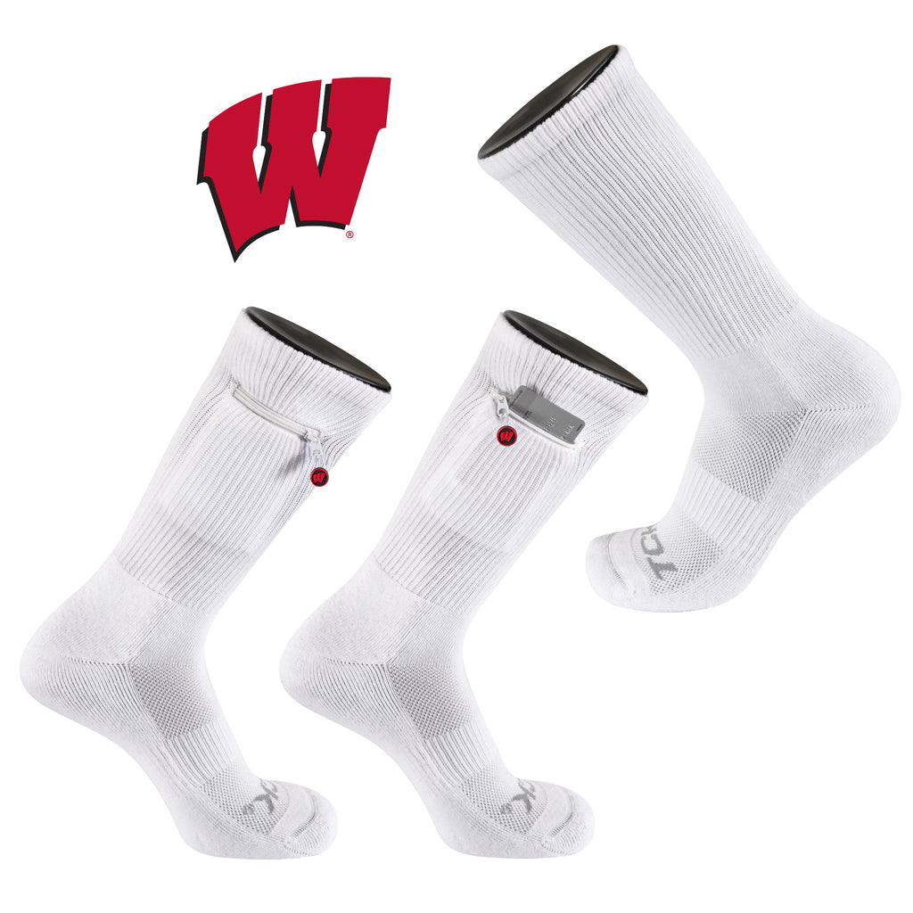 University of Wisconsin Stash & Dash Zip Pocket Performance Crew Sock in White