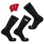 University of Wisconsin Stash & Dash Zip Pocket Performance Crew Sock in Black
