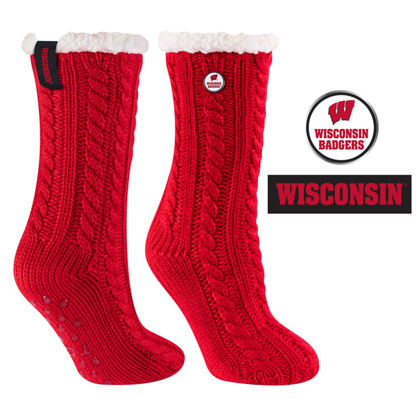 University of Wisconsin Miss Chalet Cable Knit Cozy Slipper Sock