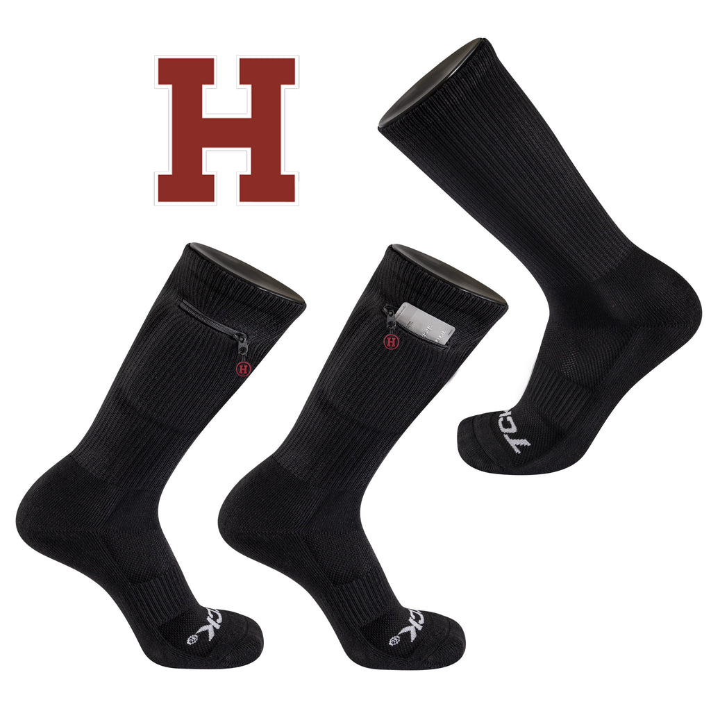 Harvard University Stash & Dash Zip Pocket Performance Crew Sock in Black