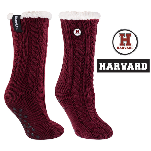 Harvard University Miss Chalet Cable Knit Cozy Slipper Sock