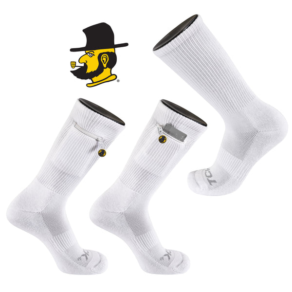 Appalachian State University Stash & Dash Zip Pocket Performance Crew Sock in White