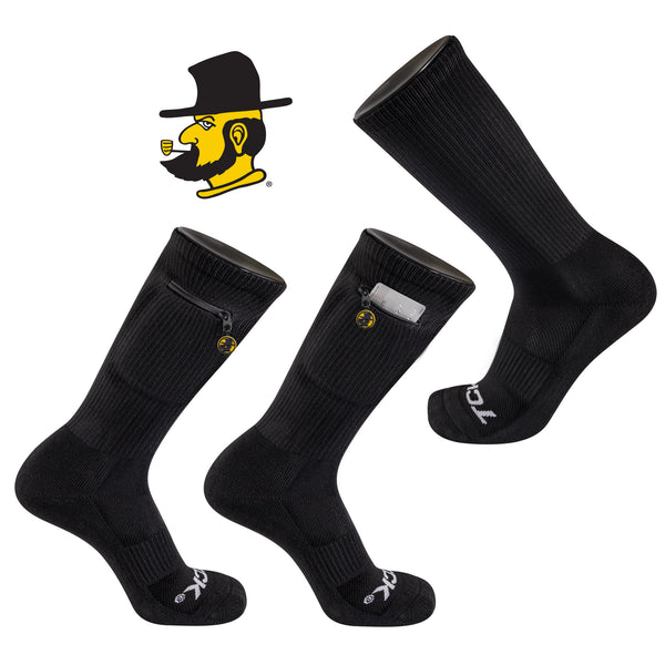 Appalachian State University Stash & Dash Zip Pocket Performance Crew Sock in Black