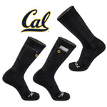 University of California Berkeley Stash & Dash Zip Pocket Peformance Crew Sock in Black