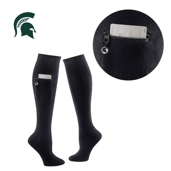 Michigan State University Miss Zippy Zip Pocket Knee High in Solid Black