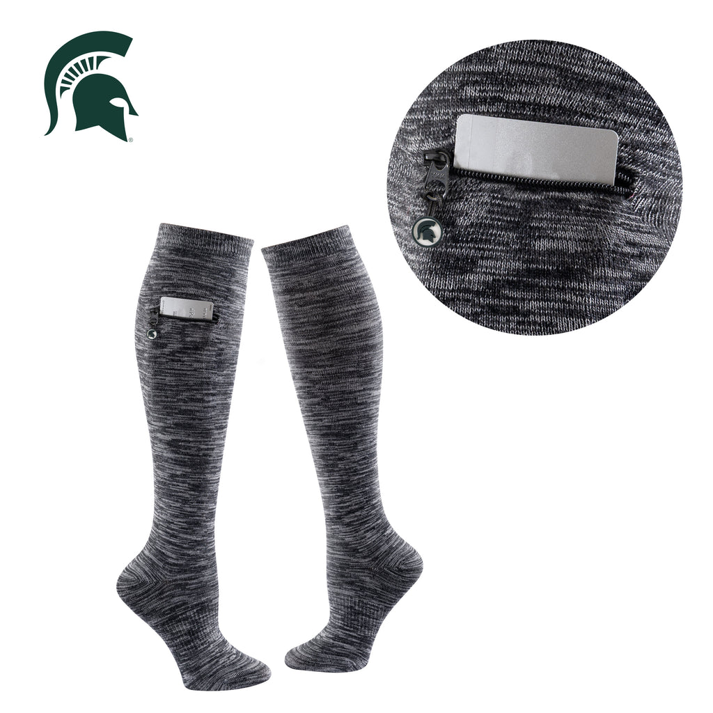 Michigan State University Miss Zippy Zip Pocket Knee High in Charcoal/Black Random Knit