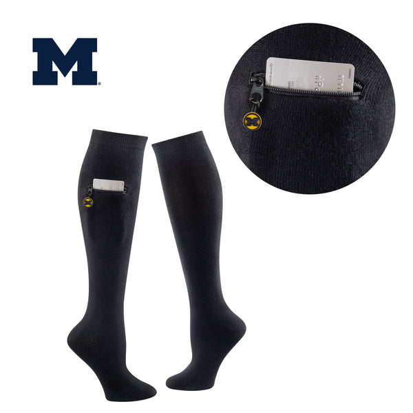 University of Michigan Miss Zippy Zip Pocket Knee High in Solid Black