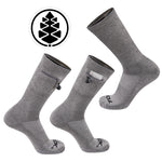 TCK Brands Stash & Dash Performance Crew Sock with Zip Pocket in Grey Heather