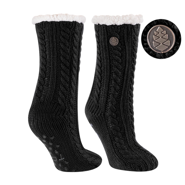 TCK Brands Miss Chalet Cable Knit Cozy Sock in Black
