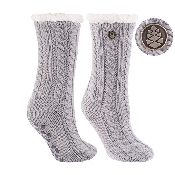 TCK Brands Miss Chalet Cable Knit Cozy Sock in Grey Heather