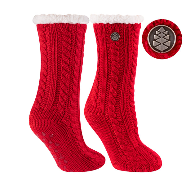 TCK Brands Miss Chalet Cable Knit Cozy Sock in Scarlet Red