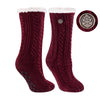 TCK Brands Miss Chalet Cable Knit Cozy Sock in Maroon