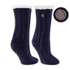 TCK Brands Miss Chalet Cable Knit Cozy Sock in Navy