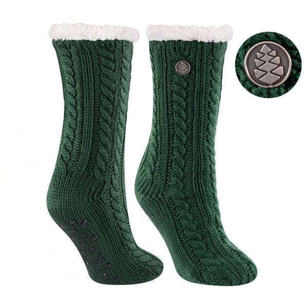 TCK Brands Miss Chalet Cable Knit Cozy Sock in Dark Green