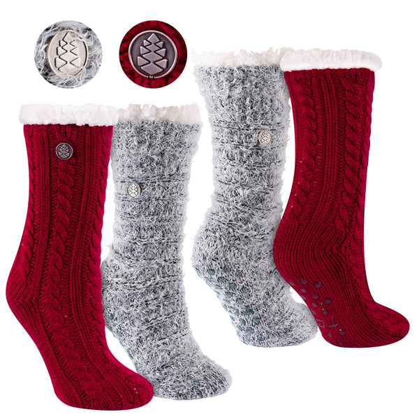 Miss Chalet and Snow Christie 2-Pack Sherpa Lined Cozy Socks in Cardinal Red and Black with Ivory