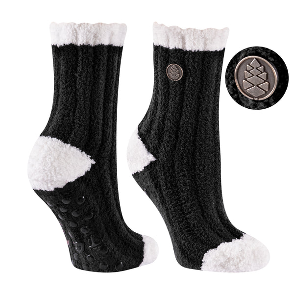 TCK Brands Warm Fuzzy Cozy Crew Sock in Black with Ivory