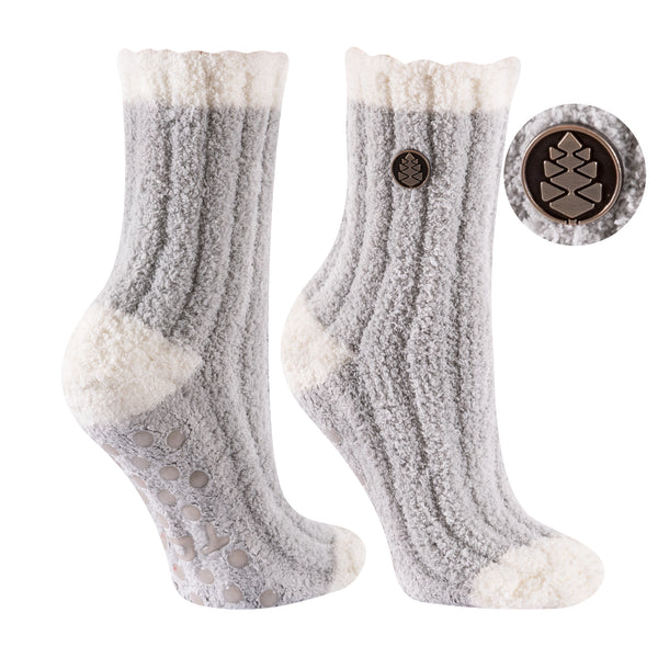 TCK Brands Warm Fuzzy Cozy Crew Sock in Grey with Ivory